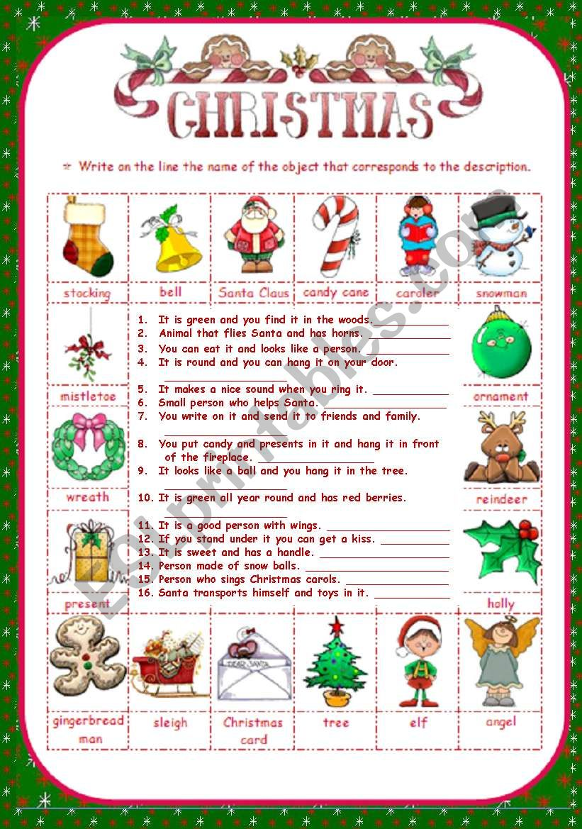 CHRISTMAS - MATCH THE DESCRIPTIONS