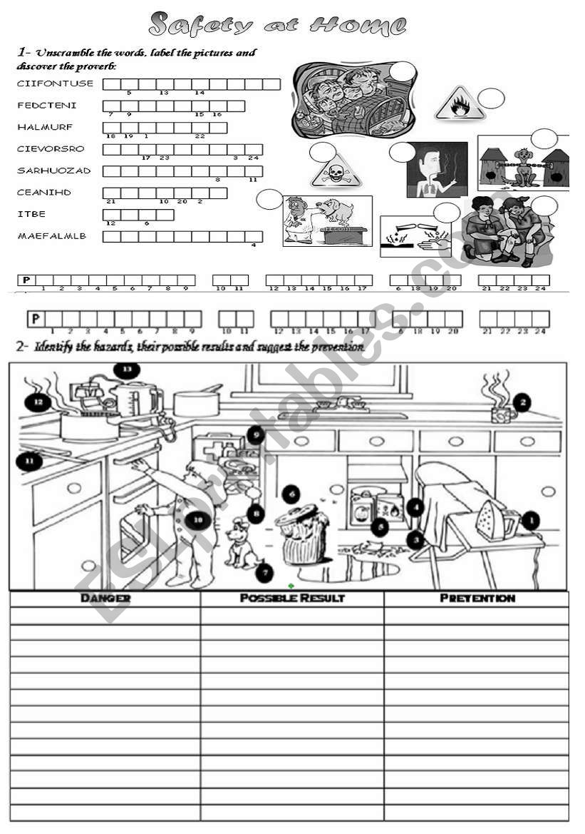 Safety At Home Esl Worksheet By Mayamin