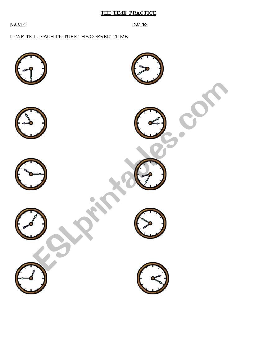 the time worksheet