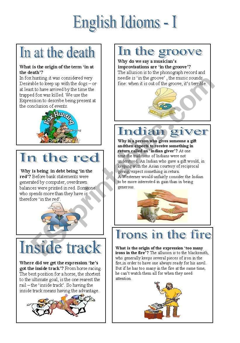 English Idioms - I worksheet