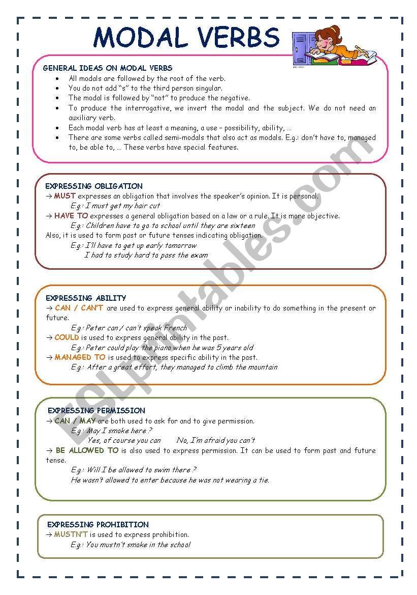 MODAL VERBS - ESL worksheet by neusferris
