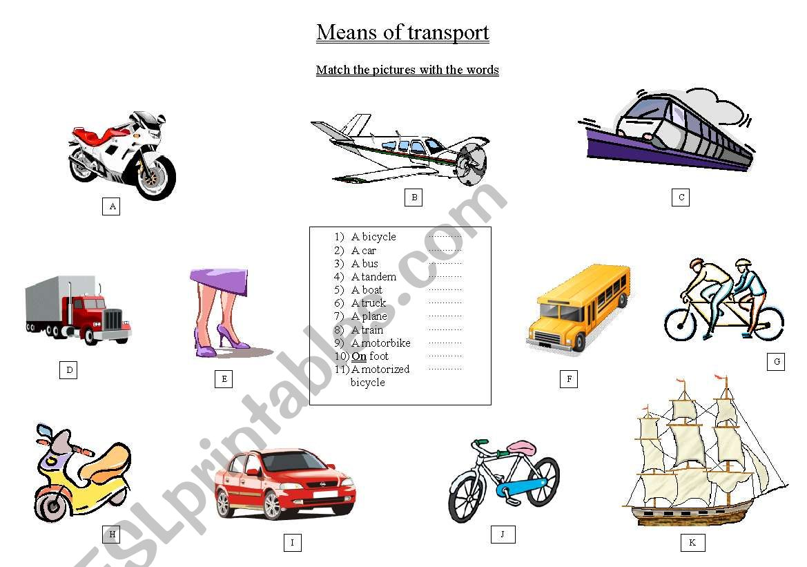 Matching means of transport worksheet