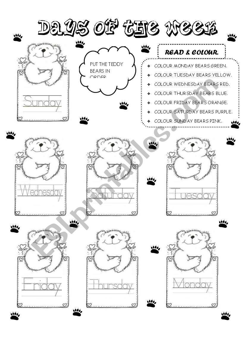 TEDDY DAYS OF THE WEEK worksheet
