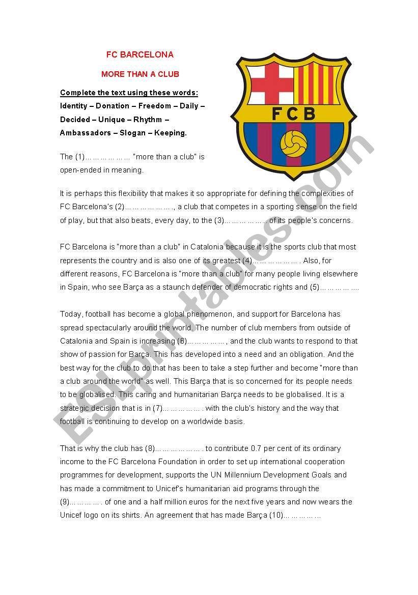 FC Barcelona - fill the gaps worksheet