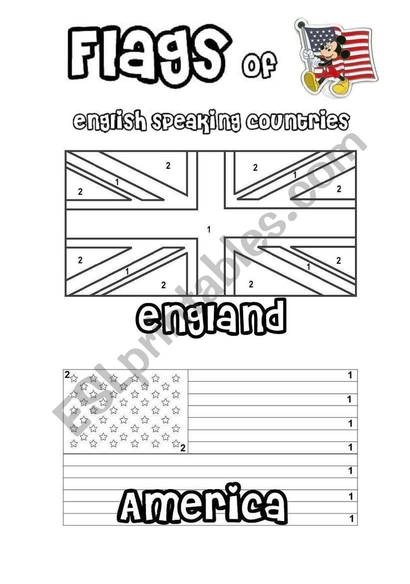 Flags of English speaking countries – colour by number.