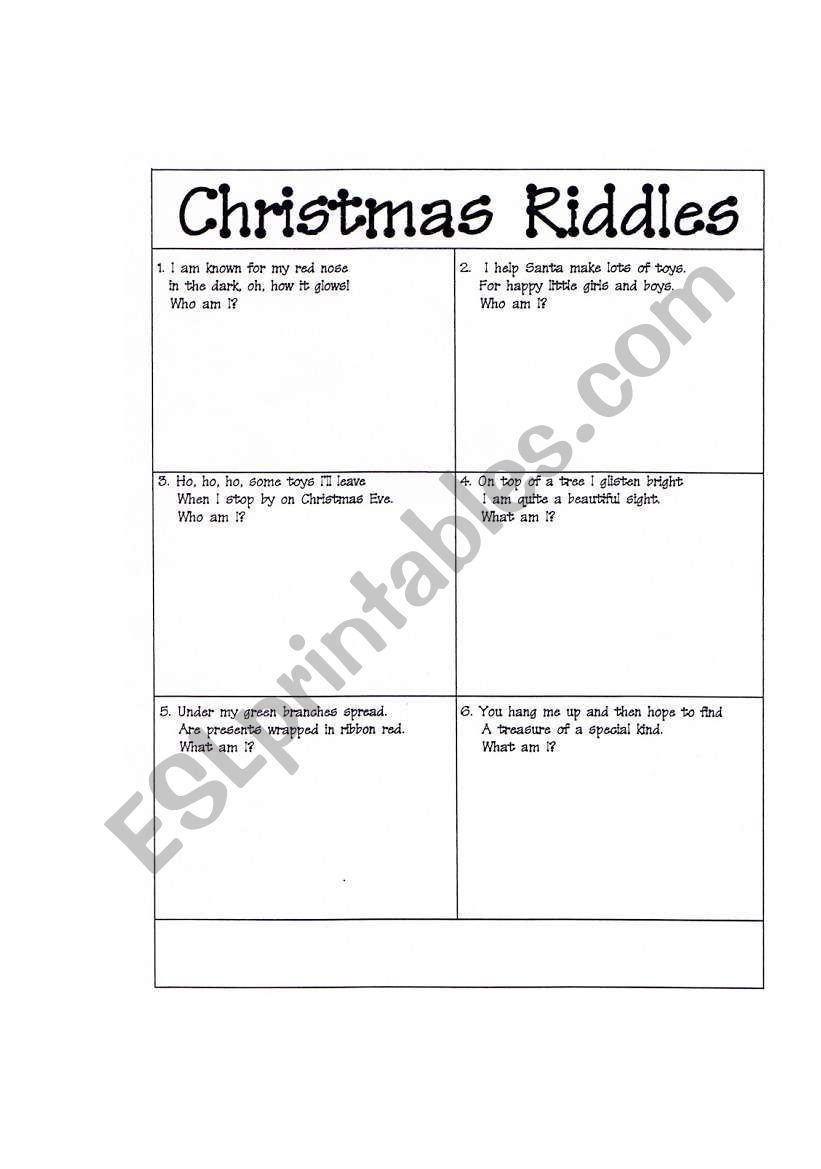 photograph relating to Christmas Riddles Printable identified as Xmas Riddles - ESL worksheet as a result of