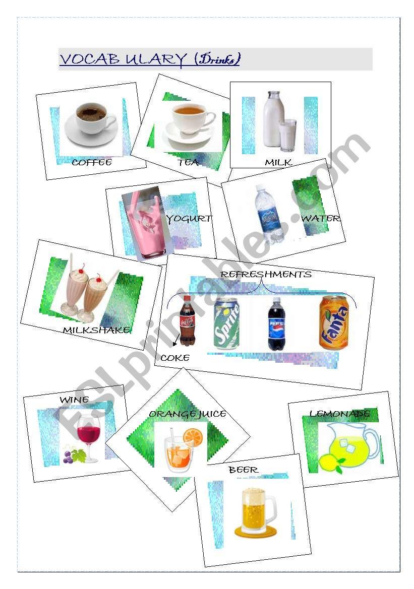 DRINKS VOCABULARY worksheet