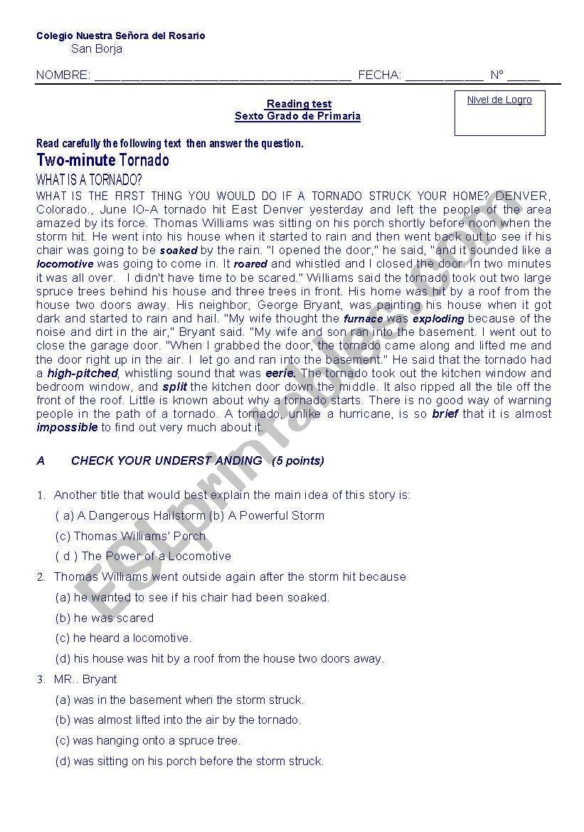 reading test tornado worksheet