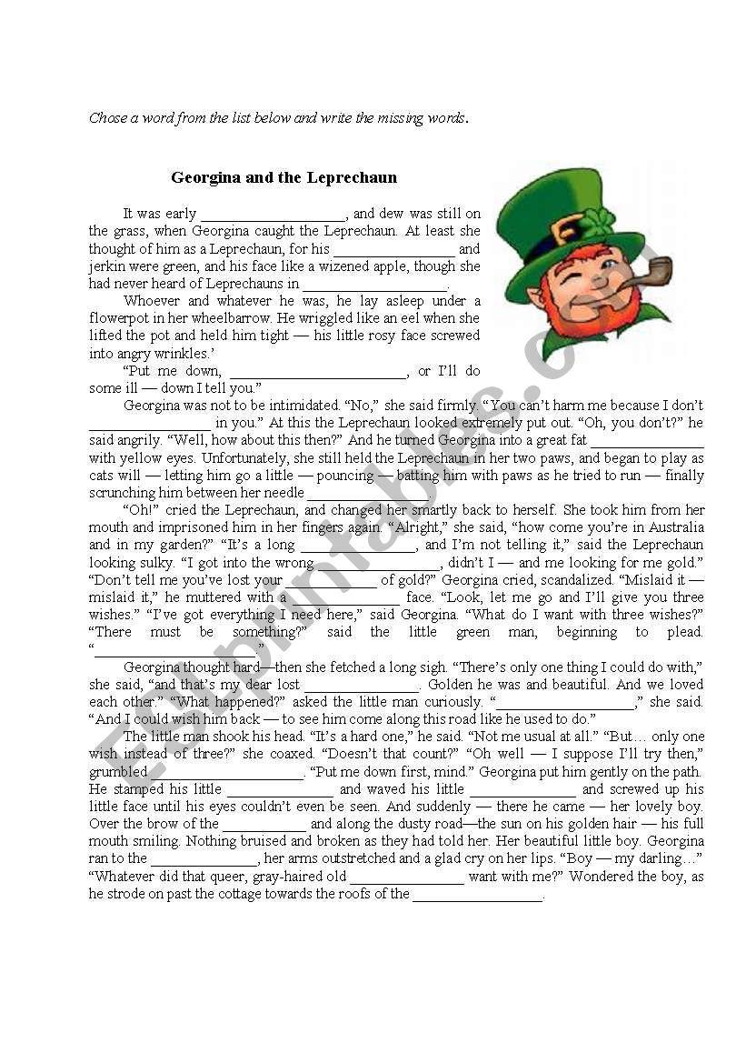 photograph about Printable Leprechaun Story called Eire. Leprechaun tale. Reading through - ESL worksheet through