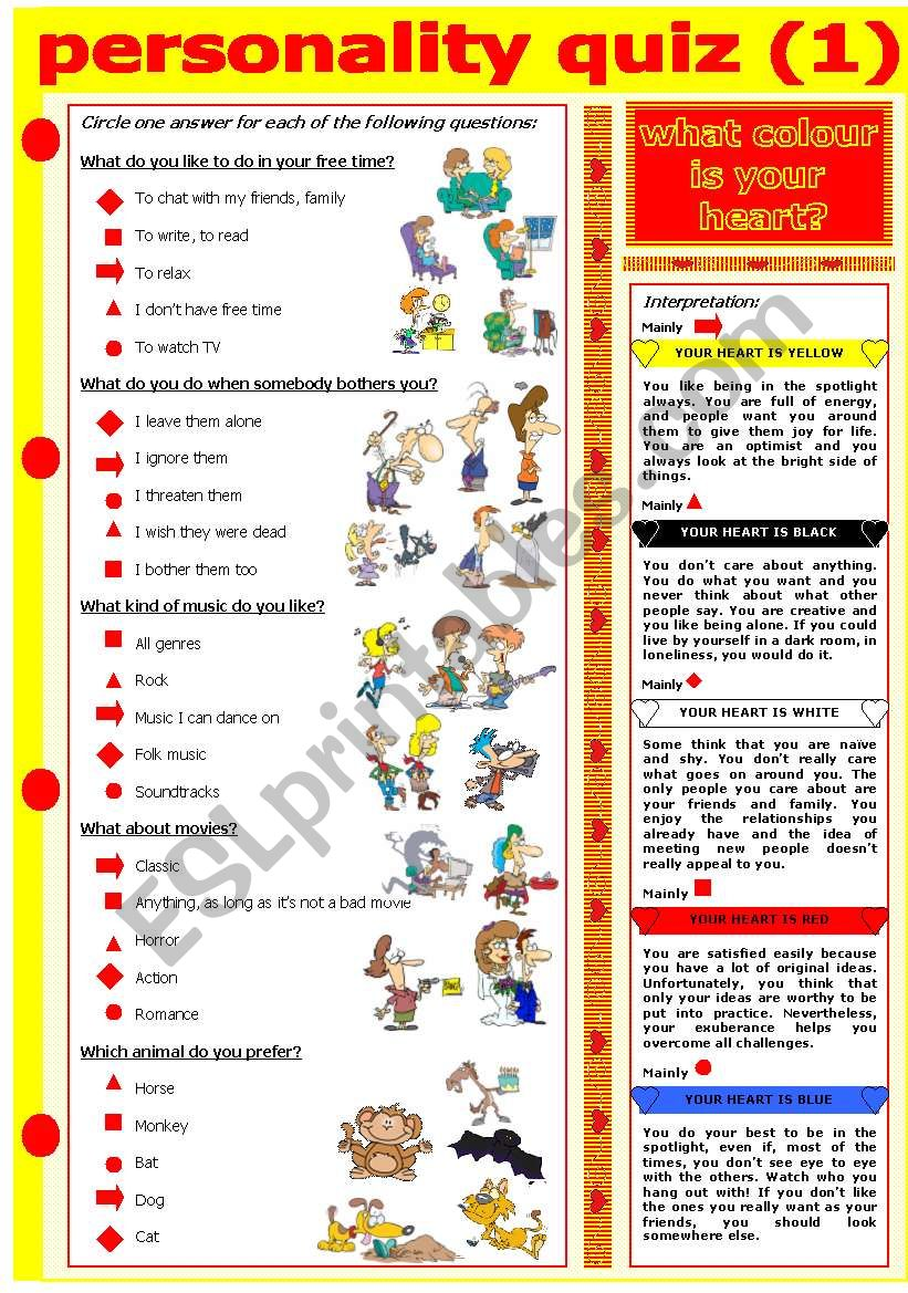 personality quiz colour heart esl worksheets worksheet preview dear