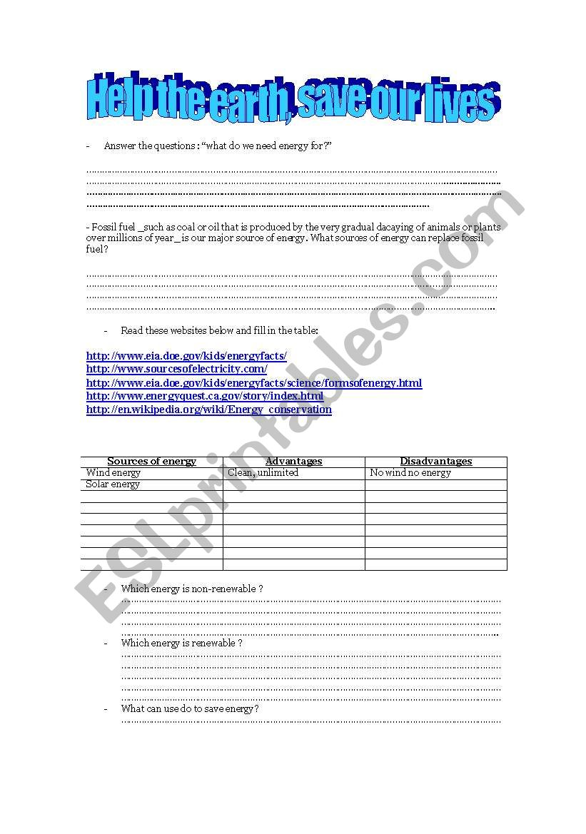 English worksheets: SAVE THE EARTH