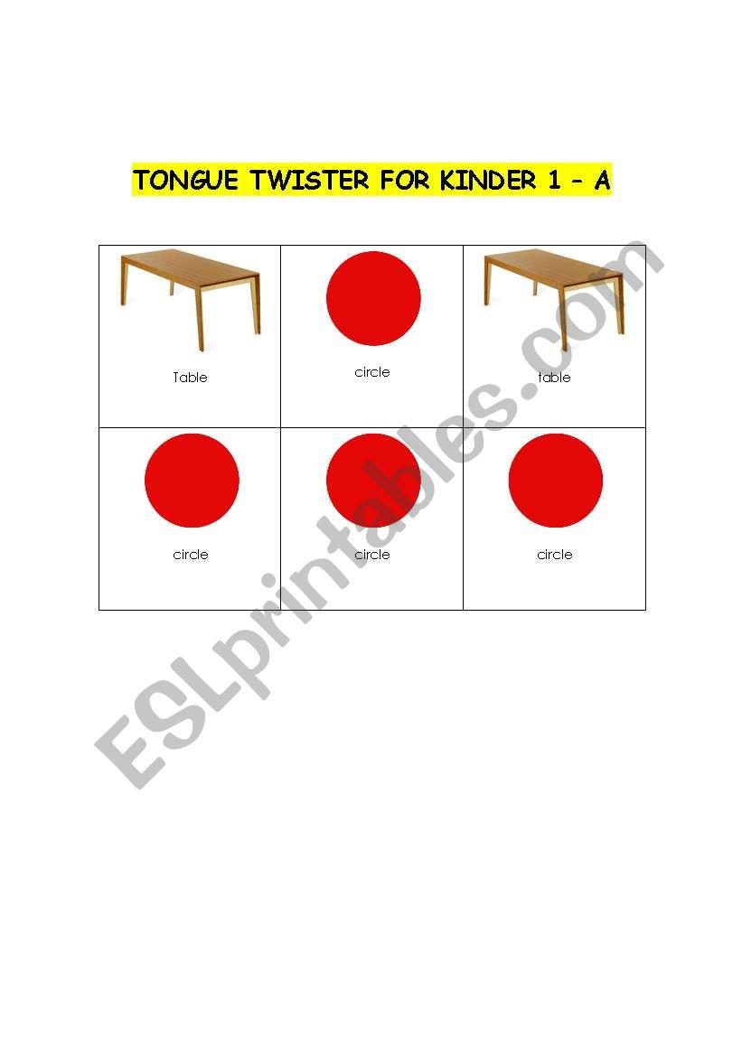 Tongue Twister for Kinder worksheet