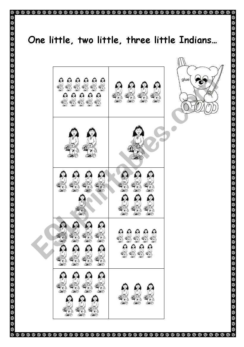 Ten little Indians worksheet