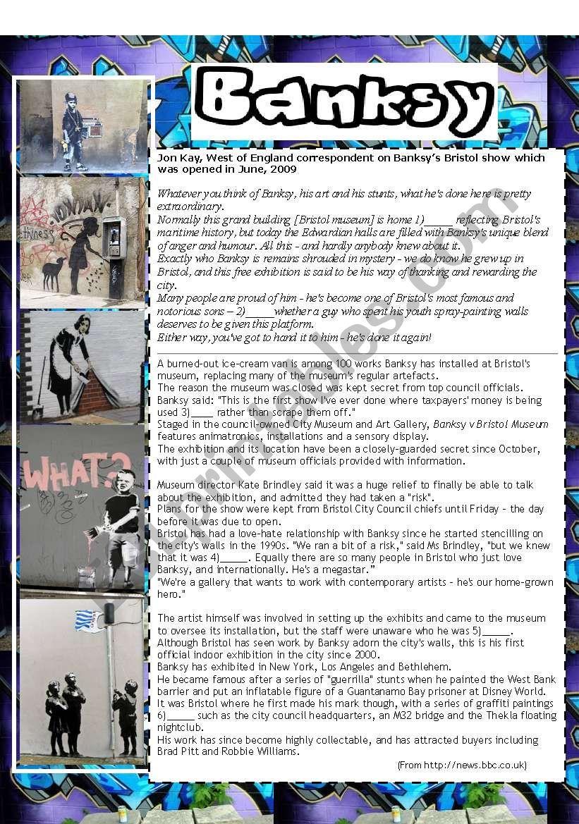 Banksy graffiti artist worksheet