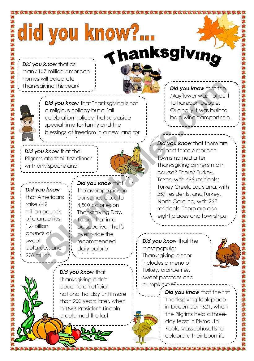 thanksgiving facts worksheet