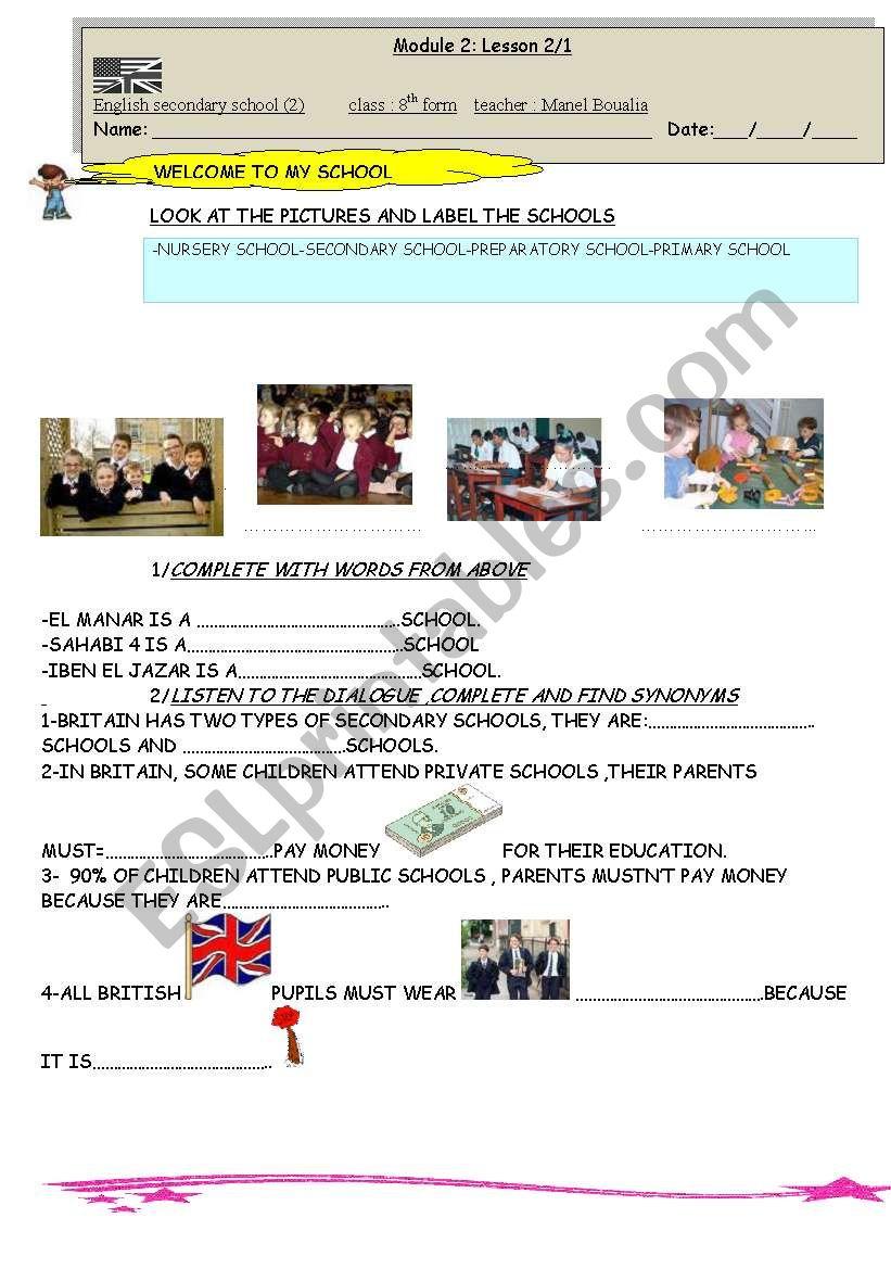 ENGLISH SECONDARY SCHOOLS worksheet
