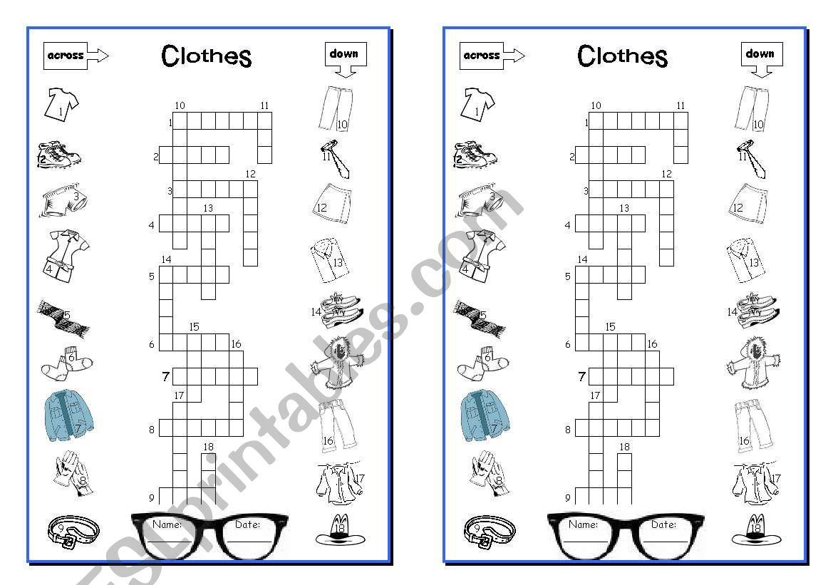 CLOTHES - crosswords worksheet
