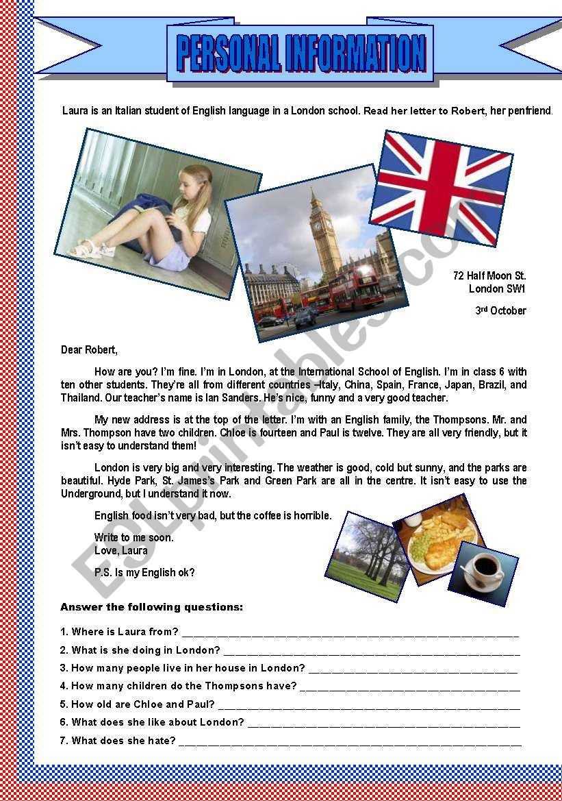 PERSONAL INFORMATION - Student in london - Letter