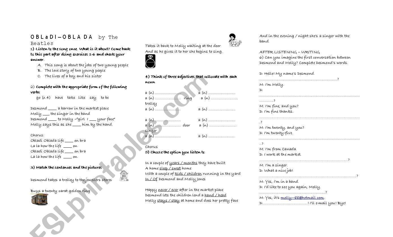 Obladi Oblada by The Beatles worksheet