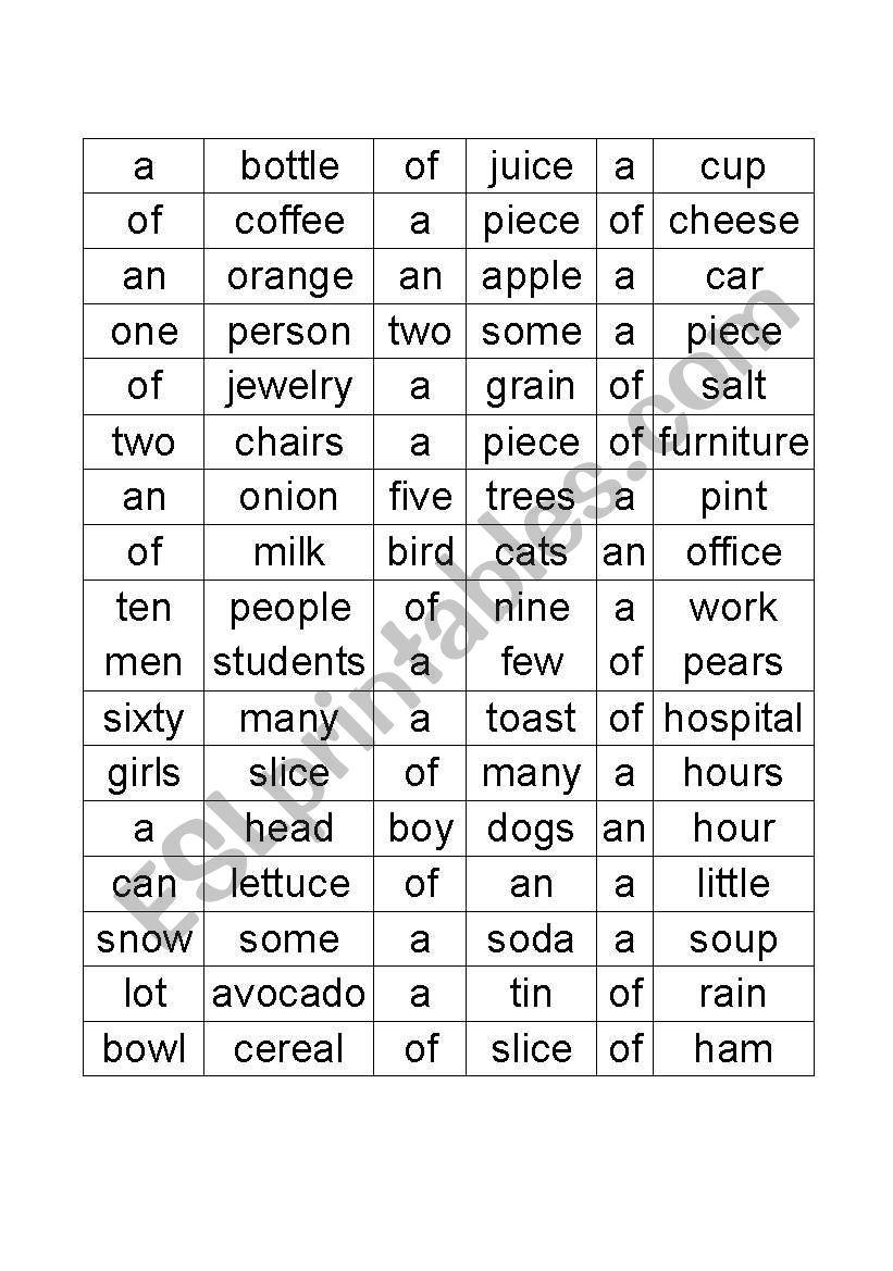 Count Noncount Nouns Articles And Quantifiers Esl