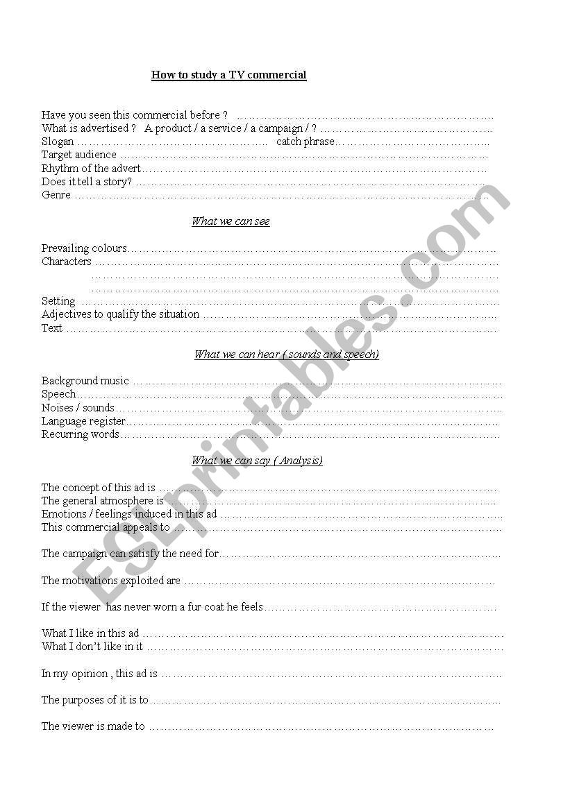 How to study a TV commercial worksheet