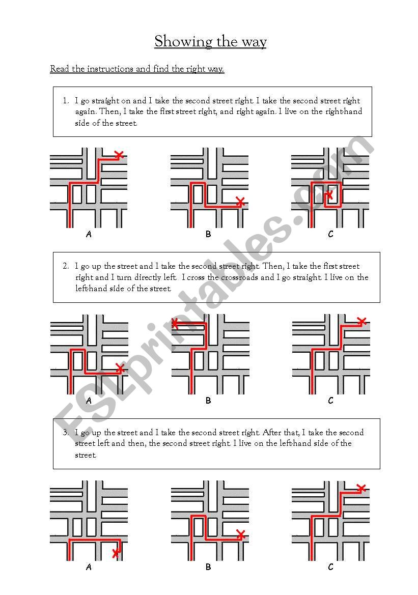 Showing the way worksheet
