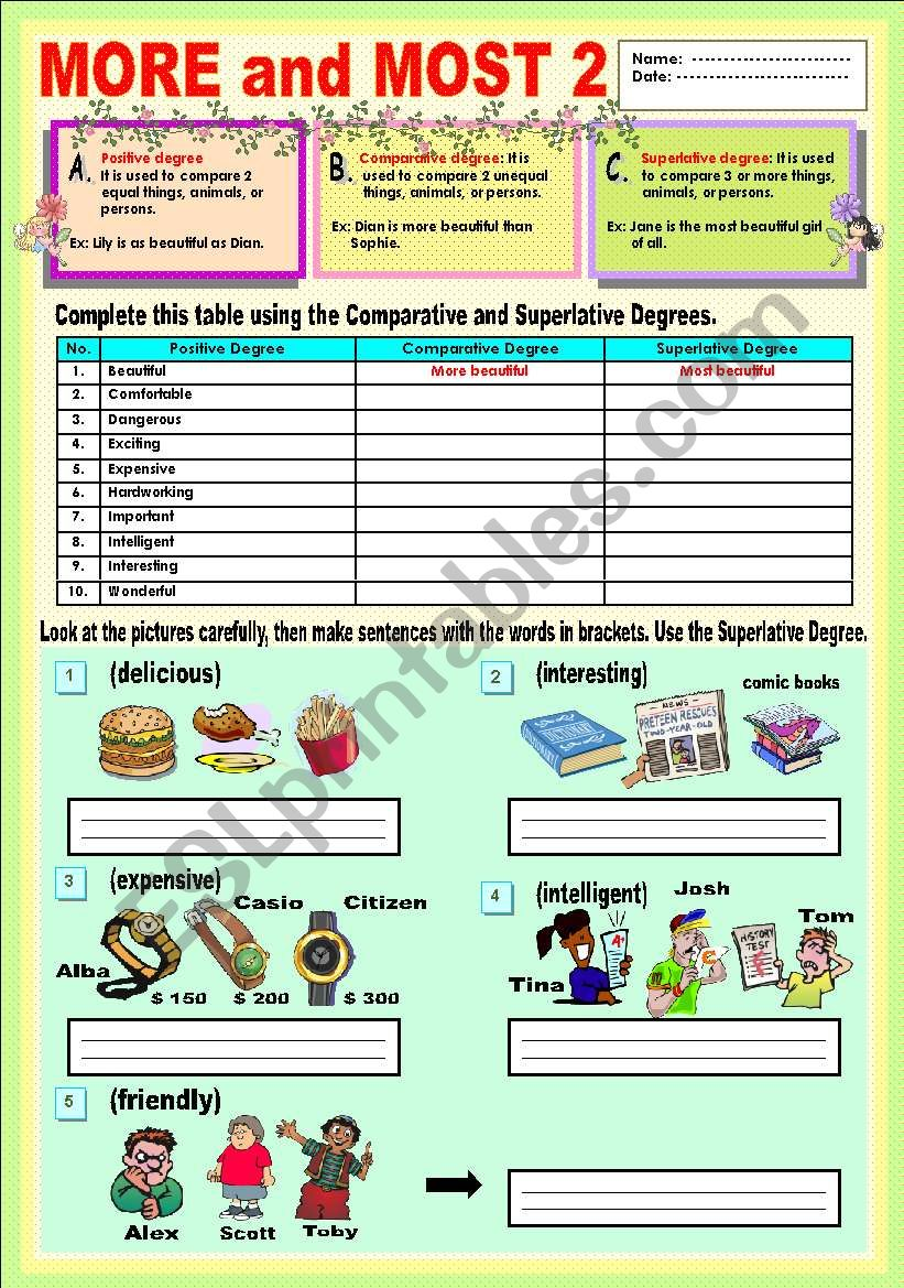 COMPARISON with more and most - ESL worksheet by lisa.weix