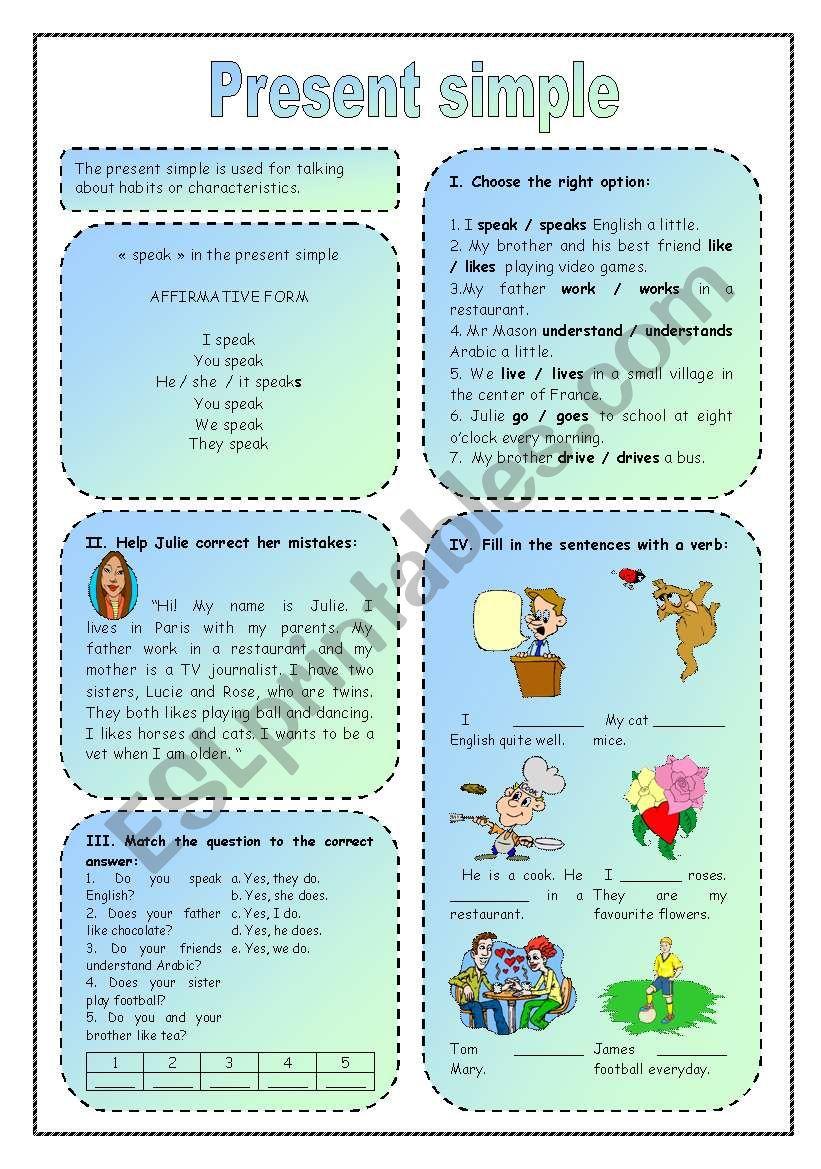 Present Simple Esl Worksheet By Discretissime