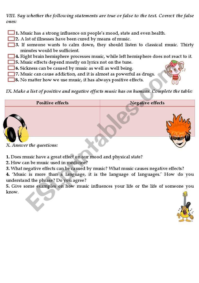 FEEL THE MUSIC - ESL worksheet by Catherine Shutik