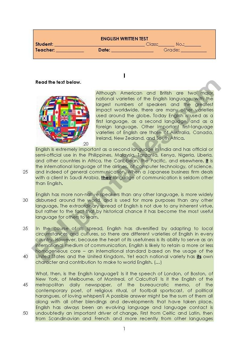 English in the World worksheet