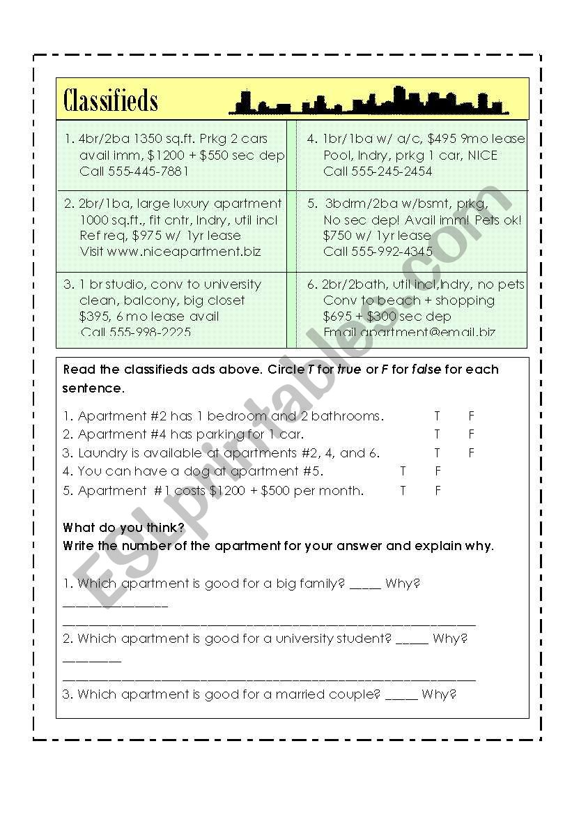 Apartment Classifieds Worksheet