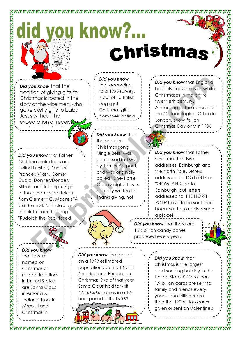 Did you know - Christmas worksheet