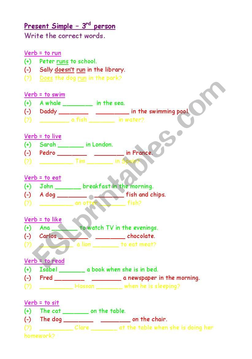 English Worksheets Present Simple 3rd Person Positive Negative