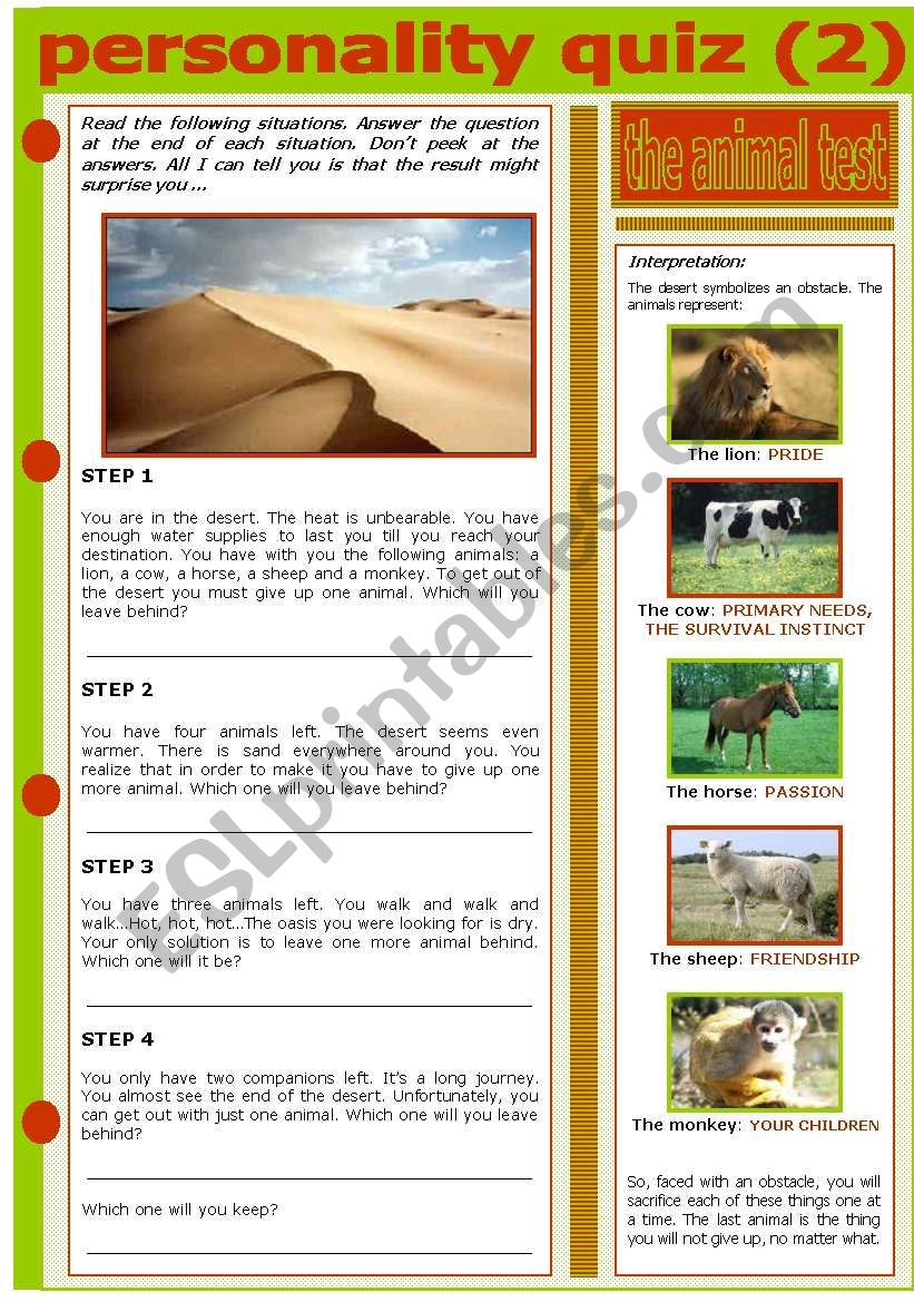 PERSONALITY QUIZ - THE ANIMAL TEST - ESL worksheet by evadp75