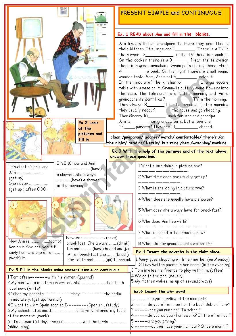 Present simple and continuous worksheet