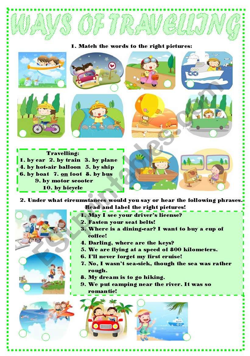 WAYS OF TRAVELLING worksheet