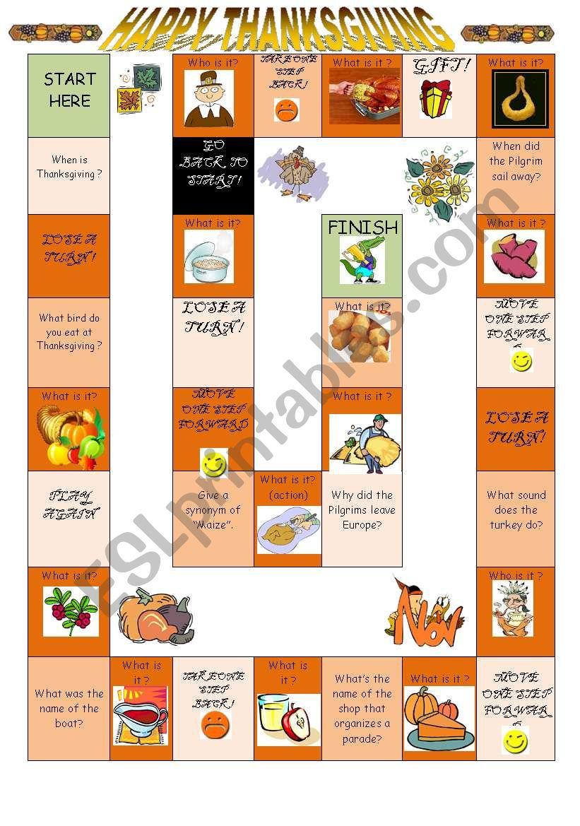 Thanksgiving Boardgame worksheet