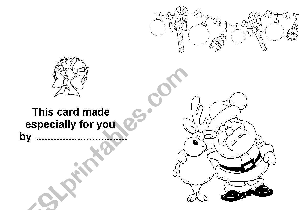 christmas card worksheet