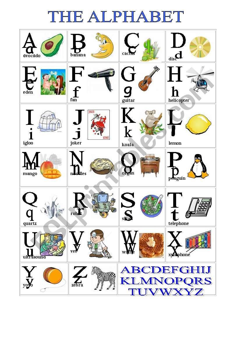 Alphabet Cognates Esl Worksheet By Ester14