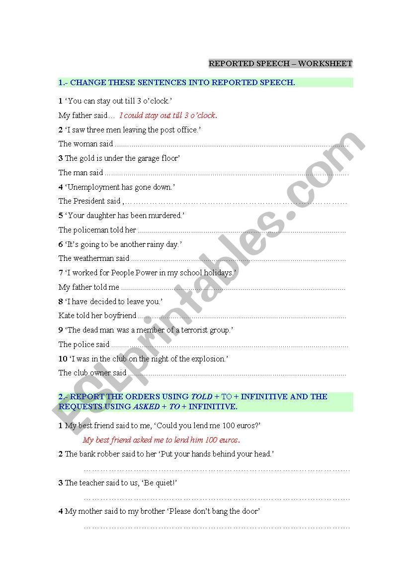 REPORTED SPEECH WORKSHEET worksheet
