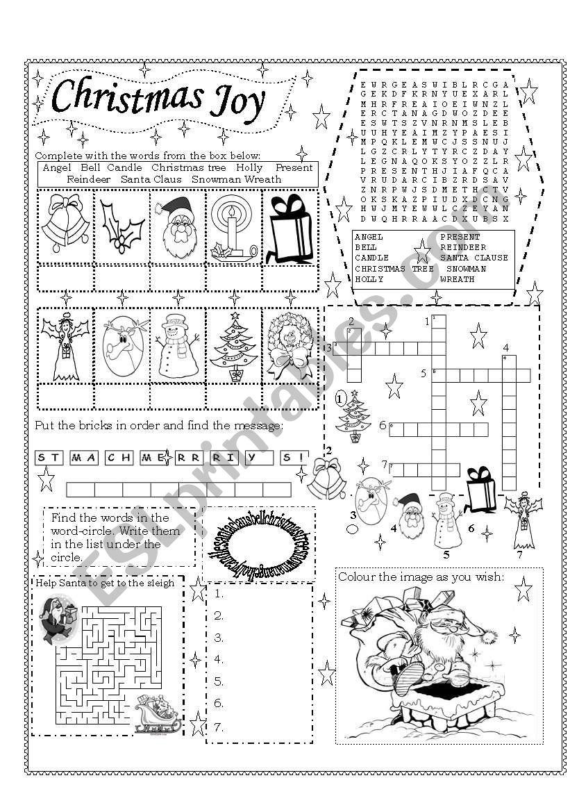 Christmas Joy worksheet
