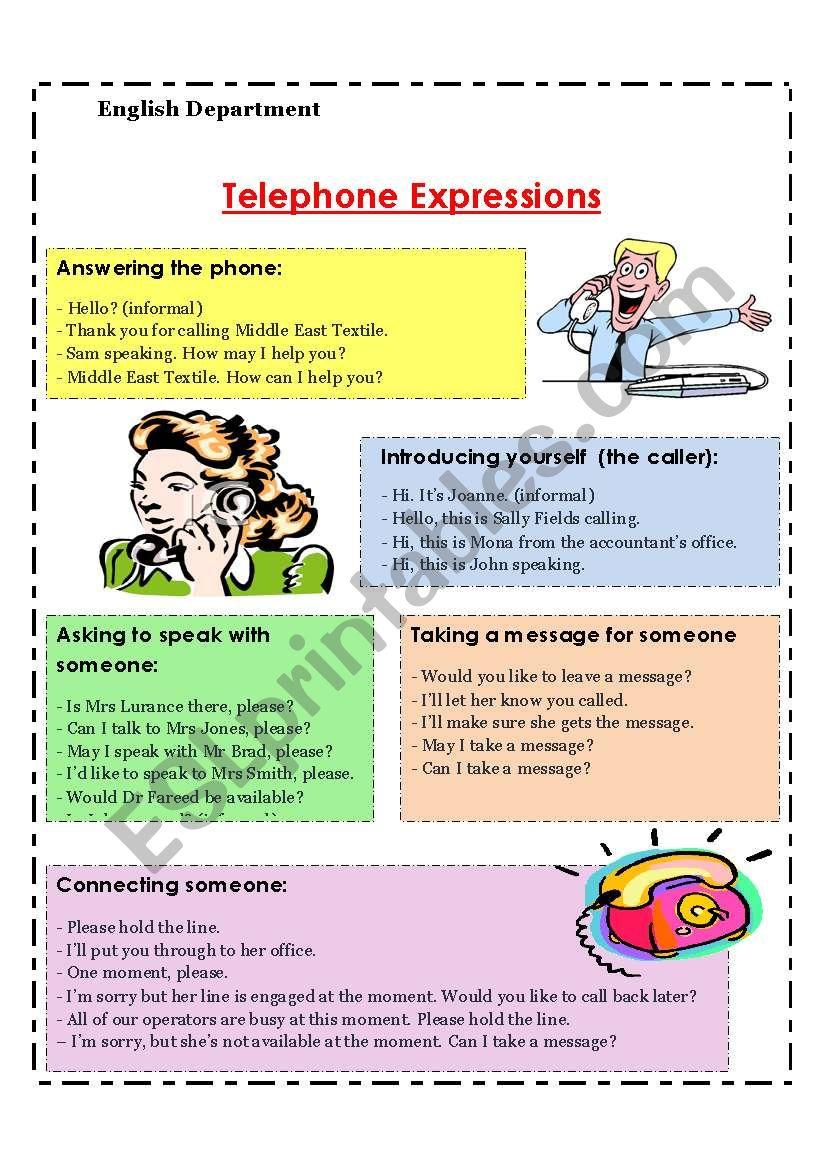 telephone expressions worksheet