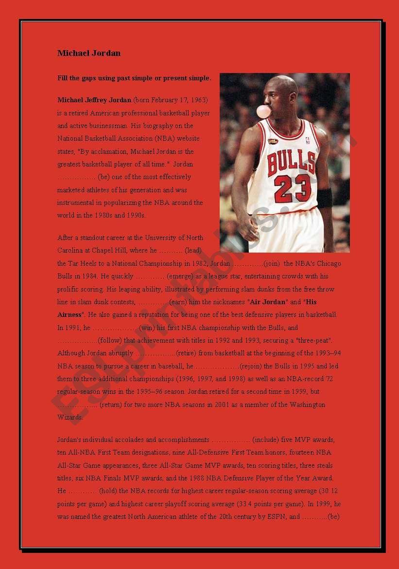 Michael Jordan - Past simple worksheet
