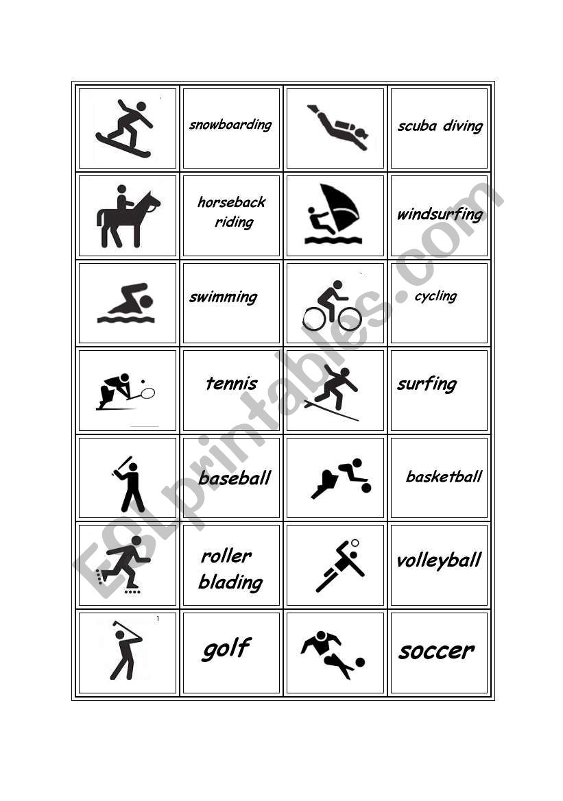 sports memory game esl worksheet by d n p. Black Bedroom Furniture Sets. Home Design Ideas