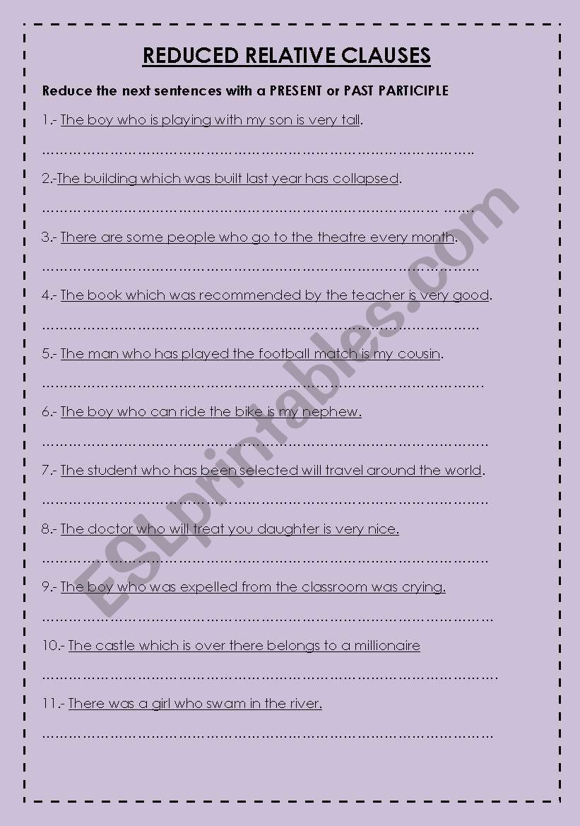 reduced relative clauses exercises pdf with answers