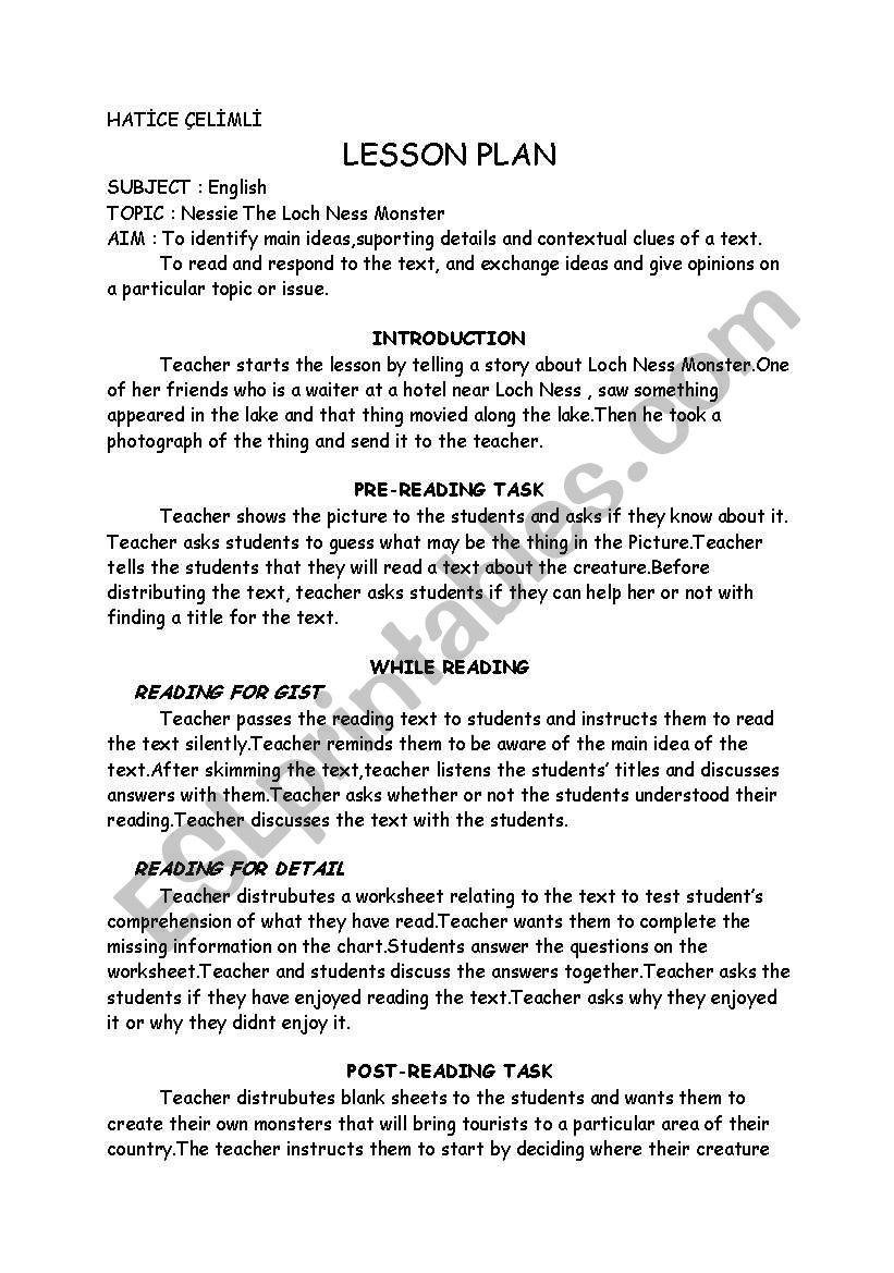 lesson plan loch ness monster worksheet