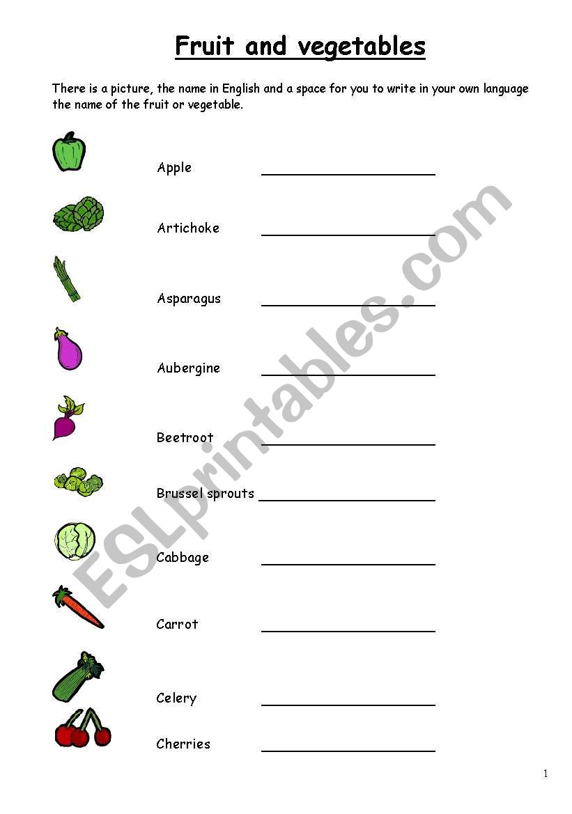 Fruit and Vegetables in English, 3 pages