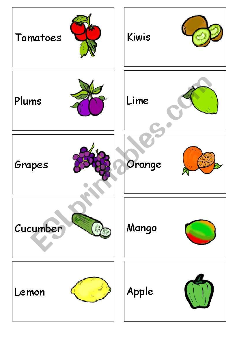 Fruit and vegetable mini flash cards