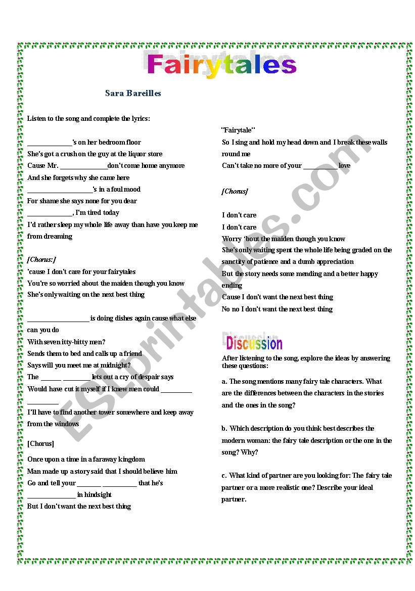 Fairytales Song Esl Worksheet By Ksalomao