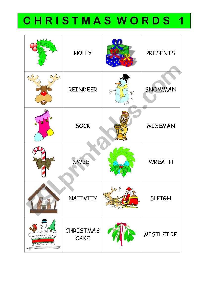 CHRISTMAS VOCABULARY 1/2 worksheet